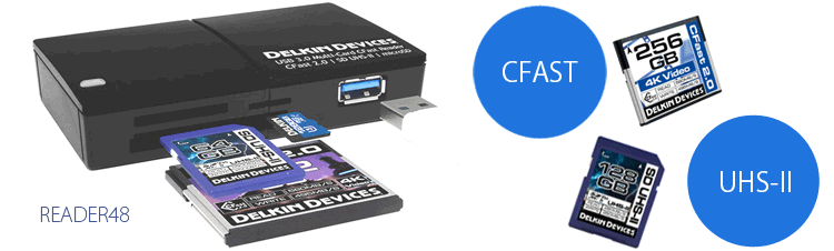 Delkin CFast SDHC/SDXC UHS-II カードリーダ READER48
