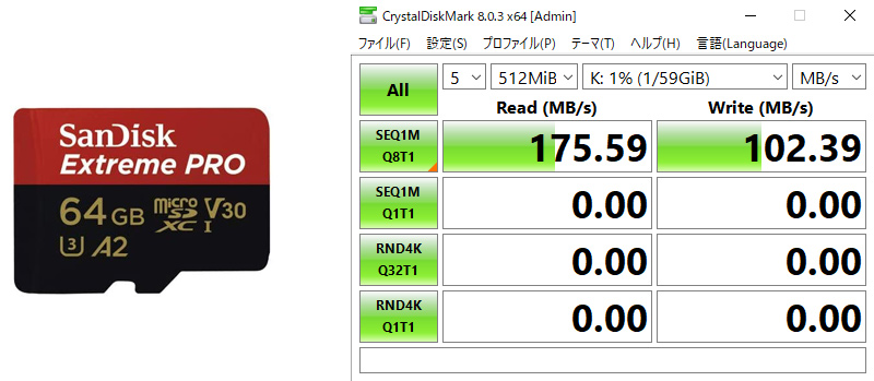 Sandisk A2 SDで170MB/s