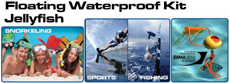 デジカメ用防水ケース・ボールフロート JellyFish ジェリーフィッシュ フロート・ボール・ストラップは海・プールで大活躍
